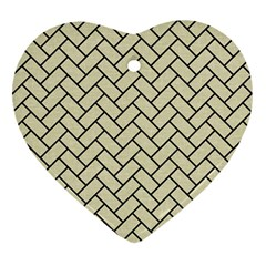 Brick2 Black Marble & Beige Linen (r) Heart Ornament (two Sides) by trendistuff