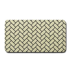 Brick2 Black Marble & Beige Linen (r) Medium Bar Mats by trendistuff