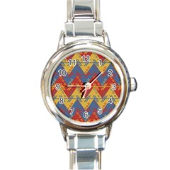 Aztec South American Pattern Zig Round Italian Charm Watch by BangZart