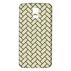 Brick2 Black Marble & Beige Linen (r) Samsung Galaxy S5 Back Case (white) by trendistuff