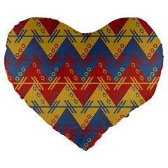 Aztec South American Pattern Zig Large 19  Premium Heart Shape Cushions by BangZart