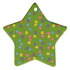 Balloon Grass Party Green Purple Ornament (star) by BangZart