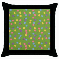 Balloon Grass Party Green Purple Throw Pillow Case (black) by BangZart