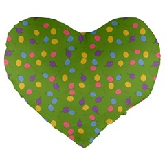 Balloon Grass Party Green Purple Large 19  Premium Heart Shape Cushions by BangZart