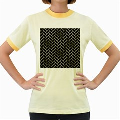 Brick2 Black Marble & Beige Linen Women s Fitted Ringer T Shirts by trendistuff