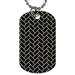 Brick2 Black Marble & Beige Linen Dog Tag (one Side) by trendistuff