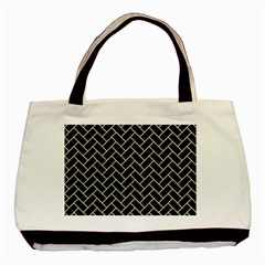 Brick2 Black Marble & Beige Linen Basic Tote Bag (two Sides) by trendistuff