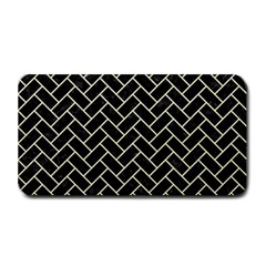 Brick2 Black Marble & Beige Linen Medium Bar Mats by trendistuff