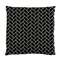 Brick2 Black Marble & Beige Linen Standard Cushion Case (one Side) by trendistuff