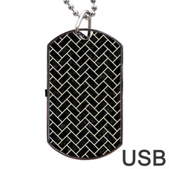 Brick2 Black Marble & Beige Linen Dog Tag Usb Flash (two Sides) by trendistuff