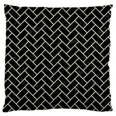 Brick2 Black Marble & Beige Linen Large Cushion Case (two Sides) by trendistuff