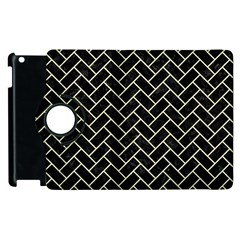 Brick2 Black Marble & Beige Linen Apple Ipad 2 Flip 360 Case by trendistuff