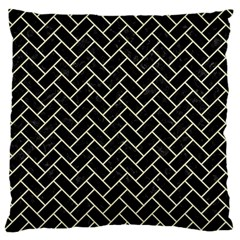 Brick2 Black Marble & Beige Linen Large Flano Cushion Case (one Side) by trendistuff