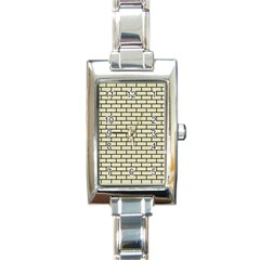 Brick1 Black Marble & Beige Linen (r) Rectangle Italian Charm Watch by trendistuff
