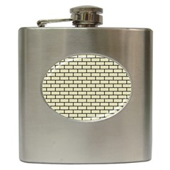Brick1 Black Marble & Beige Linen (r) Hip Flask (6 Oz) by trendistuff