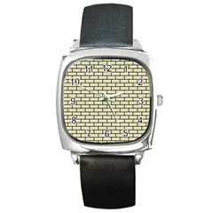 Brick1 Black Marble & Beige Linen (r) Square Metal Watch by trendistuff
