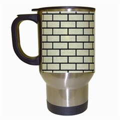 Brick1 Black Marble & Beige Linen (r) Travel Mugs (white) by trendistuff