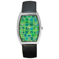 Green Abstract Geometric Barrel Style Metal Watch by BangZart