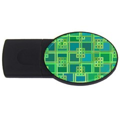 Green Abstract Geometric Usb Flash Drive Oval (4 Gb) by BangZart