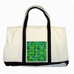 Green Abstract Geometric Two Tone Tote Bag by BangZart