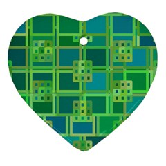 Green Abstract Geometric Heart Ornament (two Sides) by BangZart