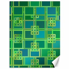 Green Abstract Geometric Canvas 36  X 48   by BangZart