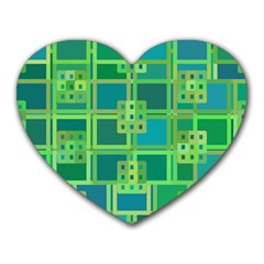 Green Abstract Geometric Heart Mousepads by BangZart