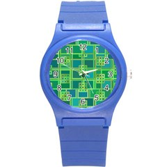 Green Abstract Geometric Round Plastic Sport Watch (s)