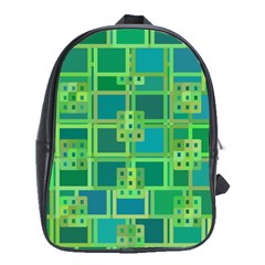 Green Abstract Geometric School Bags (xl)  by BangZart