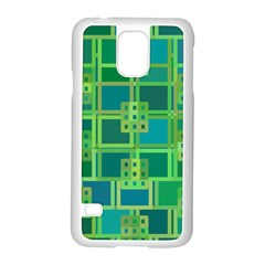 Green Abstract Geometric Samsung Galaxy S5 Case (white) by BangZart