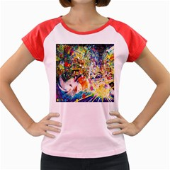 Multicolor Anime Colors Colorful Women s Cap Sleeve T-shirt