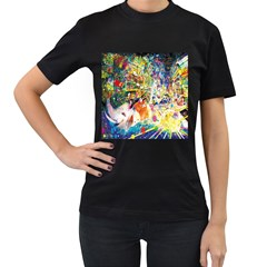 Multicolor Anime Colors Colorful Women s T-shirt (black) (two Sided) by BangZart