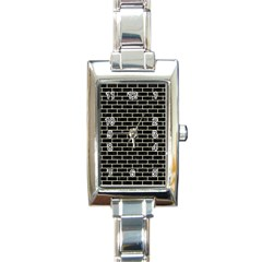 Brick1 Black Marble & Beige Linen Rectangle Italian Charm Watch by trendistuff