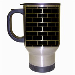 Brick1 Black Marble & Beige Linen Travel Mug (silver Gray) by trendistuff