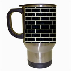 Brick1 Black Marble & Beige Linen Travel Mugs (white) by trendistuff