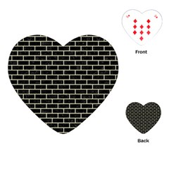 Brick1 Black Marble & Beige Linen Playing Cards (heart)  by trendistuff