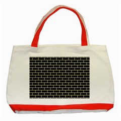 Brick1 Black Marble & Beige Linen Classic Tote Bag (red) by trendistuff