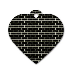 Brick1 Black Marble & Beige Linen Dog Tag Heart (one Side) by trendistuff