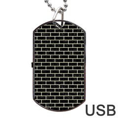 Brick1 Black Marble & Beige Linen Dog Tag Usb Flash (two Sides) by trendistuff