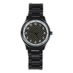 Brick1 Black Marble & Beige Linen Stainless Steel Round Watch by trendistuff