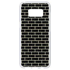 Brick1 Black Marble & Beige Linen Samsung Galaxy S8 White Seamless Case by trendistuff