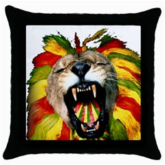 Reggae Lion Throw Pillow Case (black)