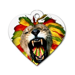 Reggae Lion Dog Tag Heart (two Sides) by BangZart