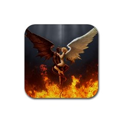 Angels Wings Curious Hell Heaven Rubber Coaster (square)  by BangZart