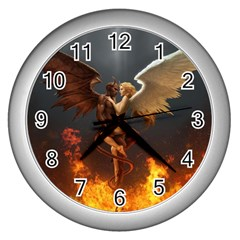 Angels Wings Curious Hell Heaven Wall Clocks (silver)  by BangZart