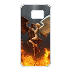 Angels Wings Curious Hell Heaven Samsung Galaxy S7 Edge White Seamless Case