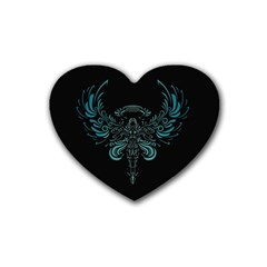 Angel Tribal Art Rubber Coaster (heart)  by BangZart