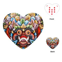 Wood Sculpture Bali Logo Playing Cards (heart)  by BangZart
