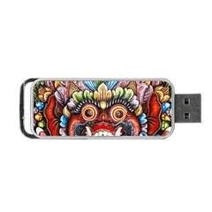 Wood Sculpture Bali Logo Portable Usb Flash (one Side)