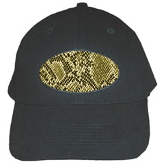 Yellow Snake Skin Pattern Black Cap by BangZart